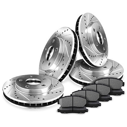 Front and Rear Drilled And Slotted Rotors Kits